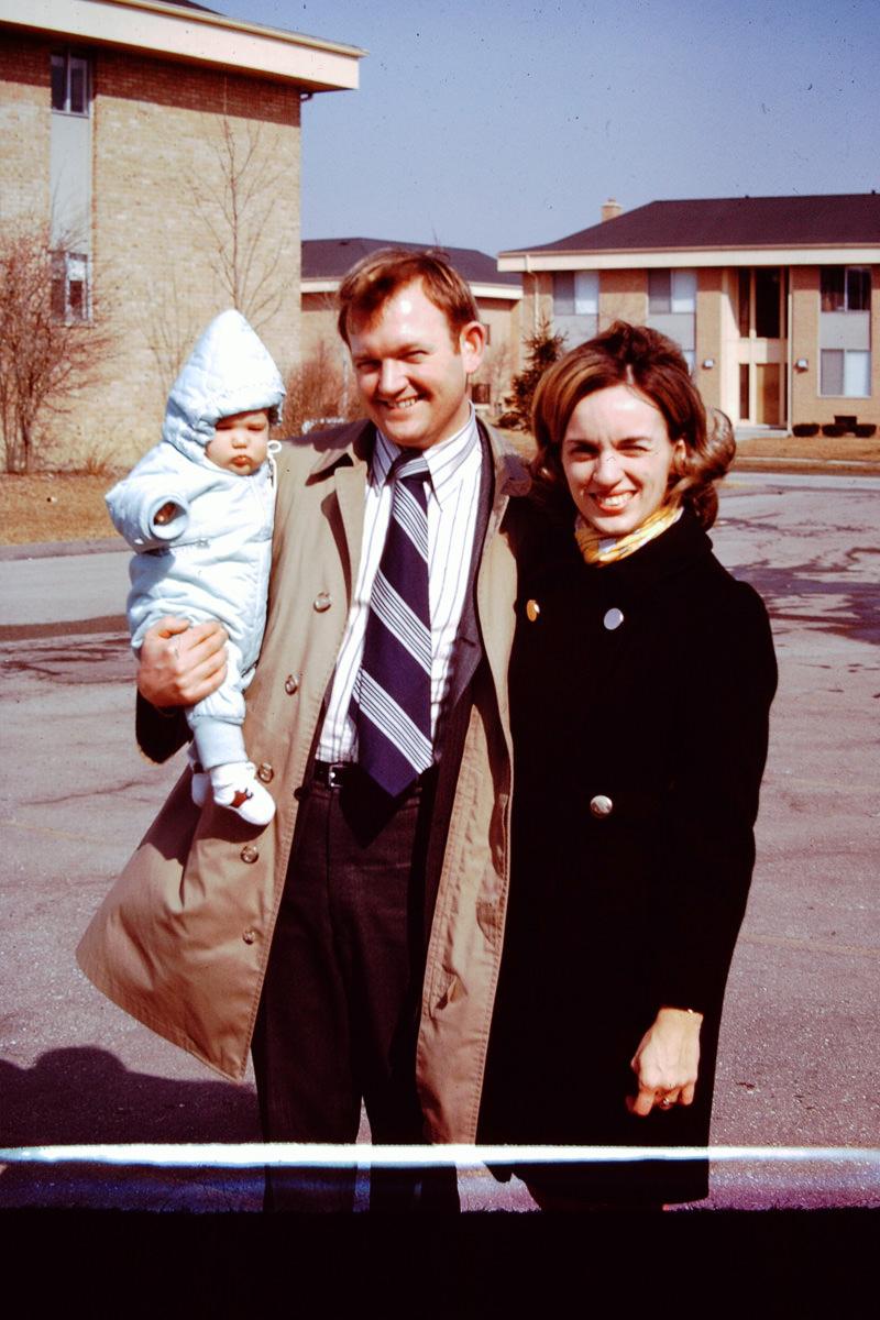 March 1970: Doug's Baptism; Doug, Bill, Jan