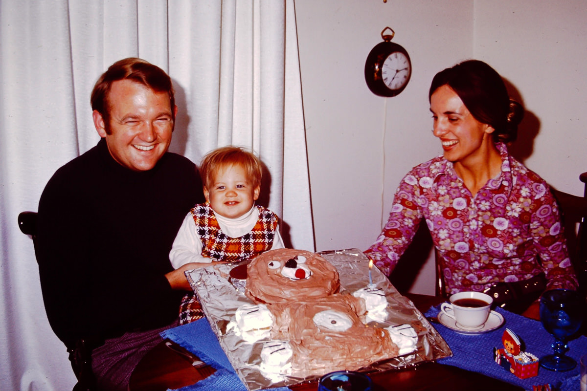 September 1971: Doug's 1st Birthday; Bill, Doug, cake of known shape, Jan