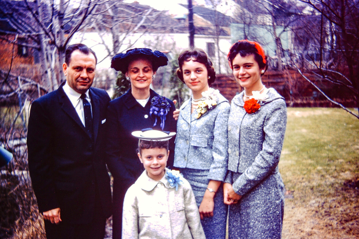 """Aug 1959 - """"Jan and Mary Lou Formals""""; George, Joan, Susie, Jan, Mary Lou"""