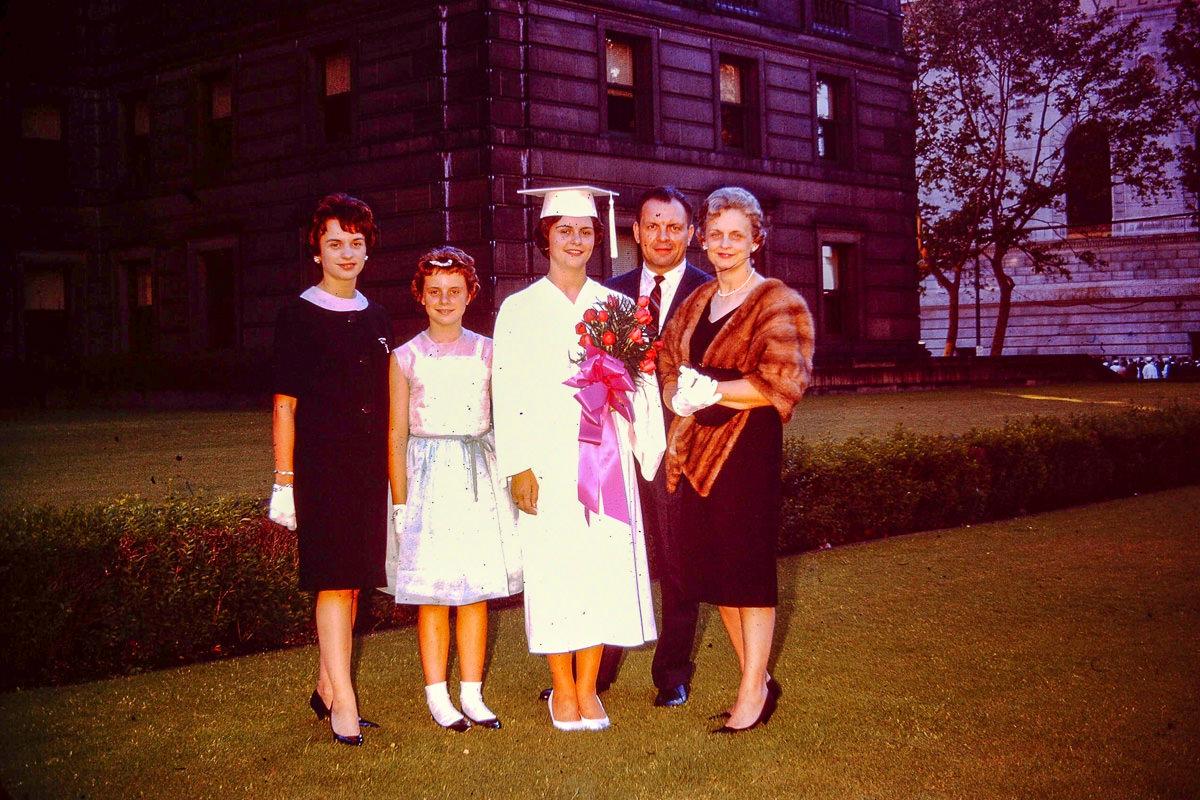 1963: Jan, Susie Matilo, Mary Lou, Joan, George