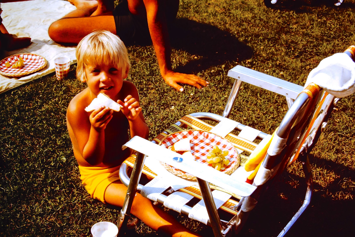Walloon Lake 1974: Not technically a lake picture, but Doug is eating