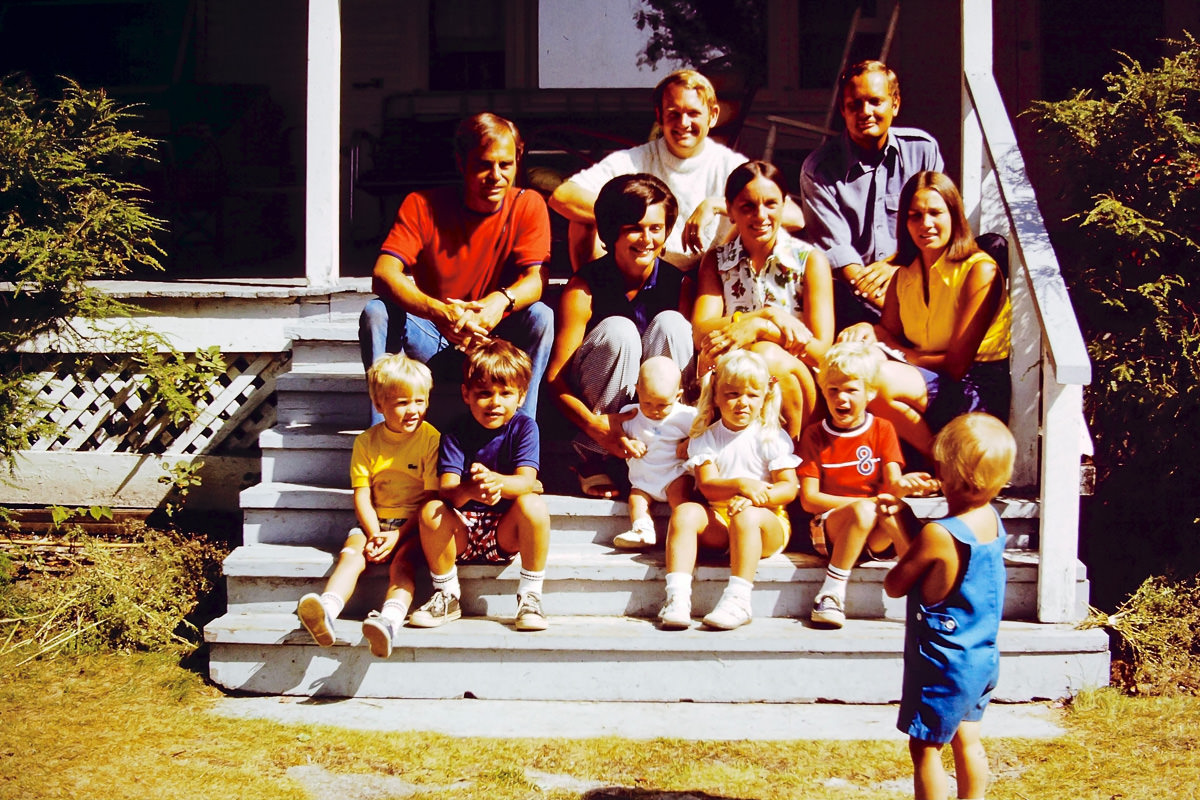 Walloon Lake 1974: (top) Bill, Jim; (middle) Dick, Mary Lou, Jan, Sandy; (front) Doug, Dickey, me, Jenny, Rob. Greg has his back to the camera. There's always one.