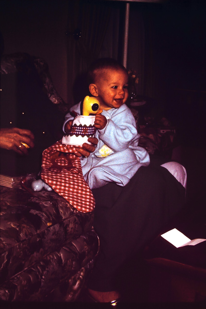 Christmas 1974: The teddy bear stocking still exists - more detail on those in a future Christmas post
