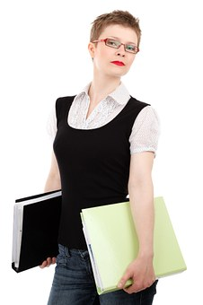 short haired girl with folder of documents