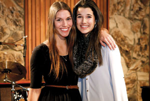 Allie Nixon, left, 2013 Teen Star Santa Barbara, and Rachel LaCommare, the 2012 winner, pose together during the Fourth Annual Media Launch event on Tuesday night at Santa Barbara Sound Design Studios.