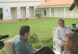 Director Oliver Stone during an interview with the President of Paraguay, Fernando Lugo.