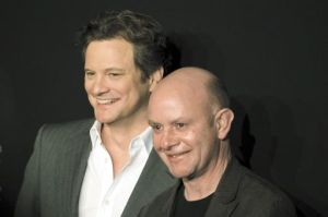 Colin Firth, left, and Nick Hornby pose for a portrait on the red carpet.