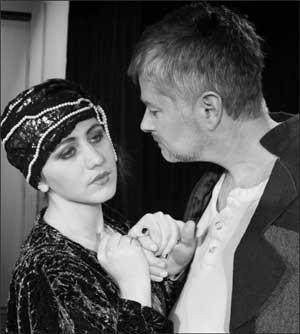 "Nova Ropp as Cleopatra and James Stenger as Senya in SBCC Theatre Arts Department's production of ""The Suicide"" by Nikolai Erdman. RICK MOKLER PHOTO"