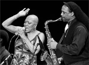 Dee Dee Bridgewater, left and in photo at bottom, and sax/flautist Craig Handy at the Lobero on Friday. DAVE BAZEMORE PHOTOS