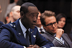 """Don Cheadle, left, and Sam Rockwell are shown in a scene is shown from, """"Iron Man 2."""""""