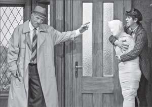 From left, Ned Schmidtke as Truscott and Wyatt Fenner as Dennis. DAVID BAZEMORE PHOTOS