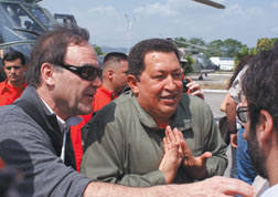 "Director Oliver Stone and Venezuelan president Hugo Chavez talk to the media in Stone's documentary ""South of the Border."" Courtesy photo"