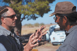 Director Jason Lehel discusses a scene with actor/associate producer Ed Mendoza, a Santa Barbara native and key figure in the film.