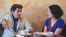 Max chats up Sydney over coffee in filmmaker John Lengsfelder's ?Blind Date Interactive.?