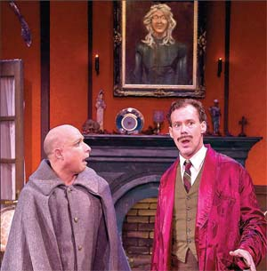 """Joseph Fuqua, right, and Jamie Torcellini, left, fashioned one of the umpteen wardrobe combos in Ensemble Theatre's production of """"Irma Vep"""" over the weekend at Alhecama Theatre. DAVIDBAZEMORE.COM PHOTO"""
