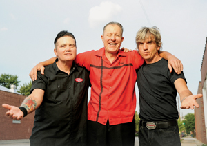 From left, Jimbo Wallace, bass, Reverend Horton Heat and Paul Simmons, drummer