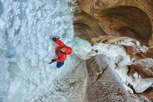 """In """"Desert Ice"""" a pair of ice climbers enjoy a rowdy adventure before finally finding ice. Keith Ladzinski"""