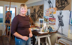 Artist Joan Price's work will be on display along with pieces by other cancer patients during the seventh annual Art Heals exhibit at the Cancer Center of Santa Barbara. The exhibit opens Thursday. MICHAEL MORIATIS/NEWS-PRESS