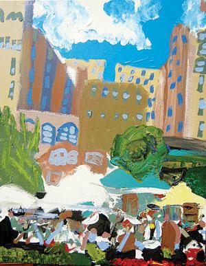 "Kevin Hosseini's painting ""Farmers Market."""