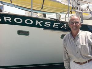 Ernie next to his boat, Brooksea, in the Santa Barbara Harbor Don Barthelmess photo