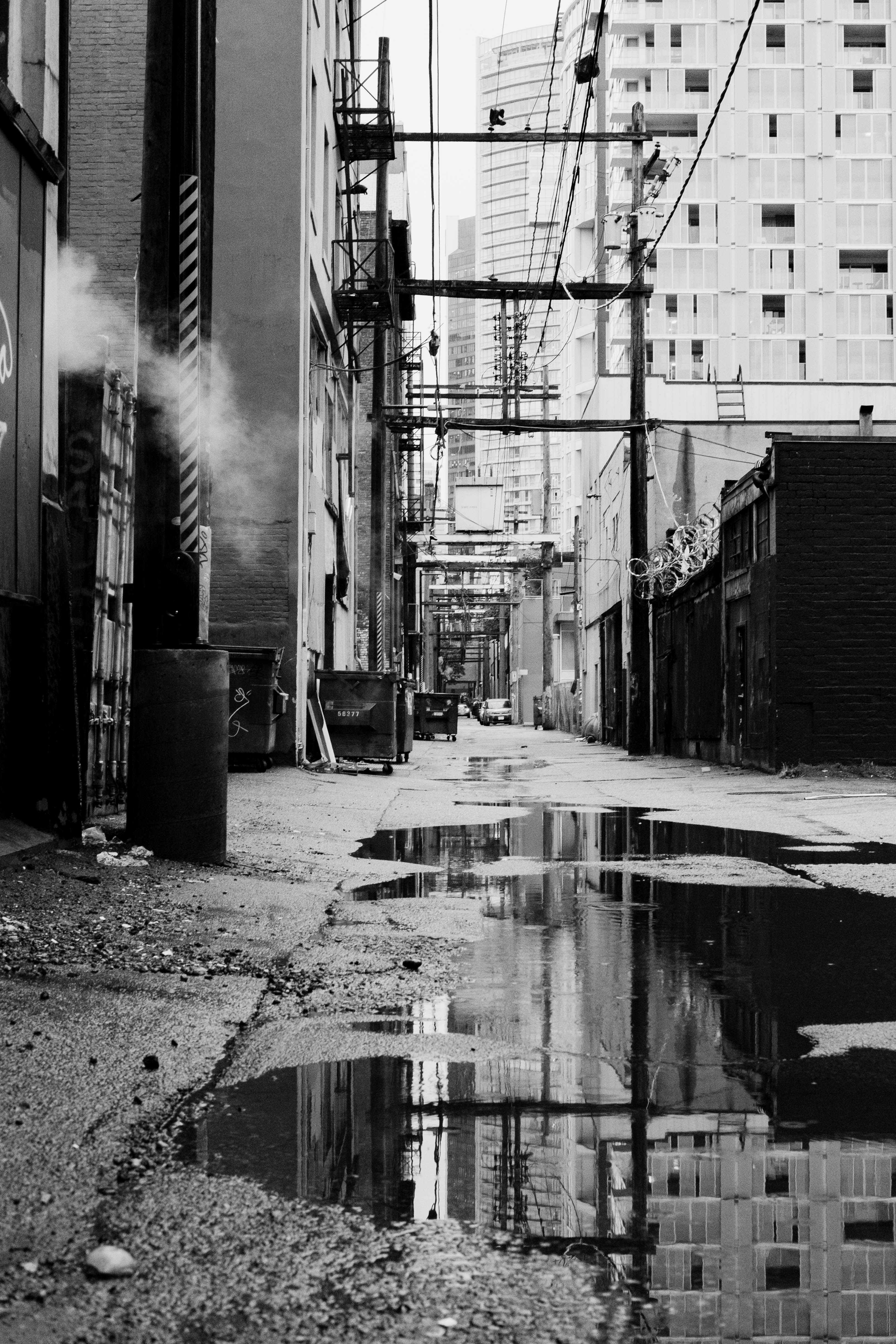rain, alley, Vancouver, reflection, steam, brick