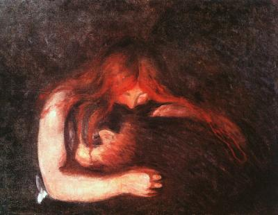 """The Vampire' by Edvard Munch, 1893-94 [Public Domain in United States], via Wikipedia"