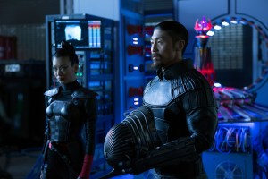 Left to right: Brittany Ishibashi as Karai and Brian Tee as Shredder in Teenage Mutant Ninja Turtles: Out of the Shadows from Paramount Pictures, Nickelodeon Movies and Platinum Dunes
