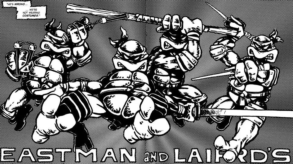 The first splash page for  Eastman & Laird's Teenage Mutant Ninja Turtles. Source: Mirage Studios.