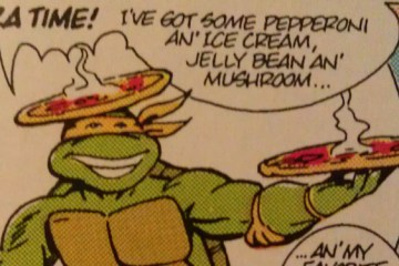 How strange will the recipes be in this Teenage Mutant Ninja Turtles Pizza Cookbook? Perhaps Mikey can offer some indication of what to expect! Image Source: Mirage, IDW.