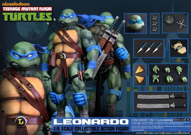 Here is an image of the Leonardo figure from DreamEX with all of his accessories. Image Source: TNI, DreamEX.
