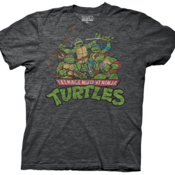 Ninja Turtles Classic Group Distressed Charcoal T-shirt