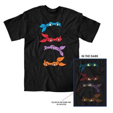 Ninja Turtles Masks Glow in the Dark Black T-Shirt