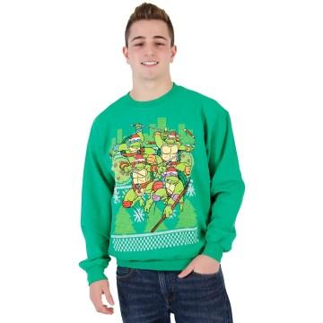Ninja Turtles Fight Stance Ugly Christmas Green Sweatshirt