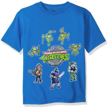 Ninja Turtles 8 Bit Logo and Character Blue Youth T-shirt