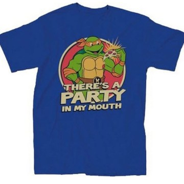Ninja Turtles Michelangelo There's A Party Blue T-Shirt