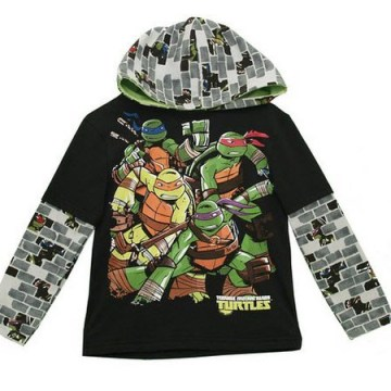 Nickelodeon TMNT Hooded Long Sleeve Black Shirt