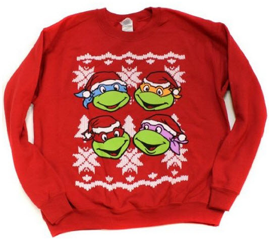 ninja turtles classic faces red ugly christmas sweatshirt