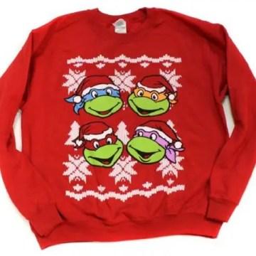 Ninja Turtles Classic Faces Red Ugly Christmas Sweatshirt