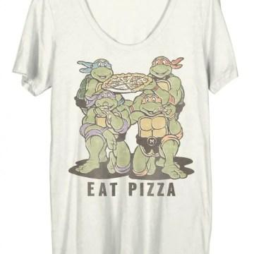 Ninja Turtles Group Eat Pizza Juniors White T-Shirt
