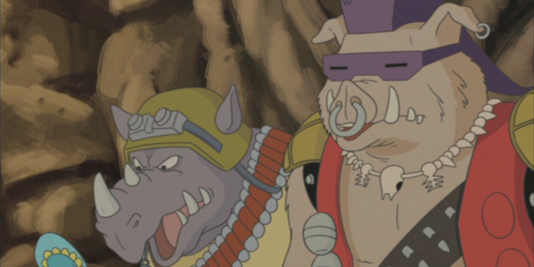 No, this isn't a shot from the original animated series -- this is the original Bebop & Rocksteady in a modern TMNT crossover! Image Source: Paramount Home Video, Nickelodeon.