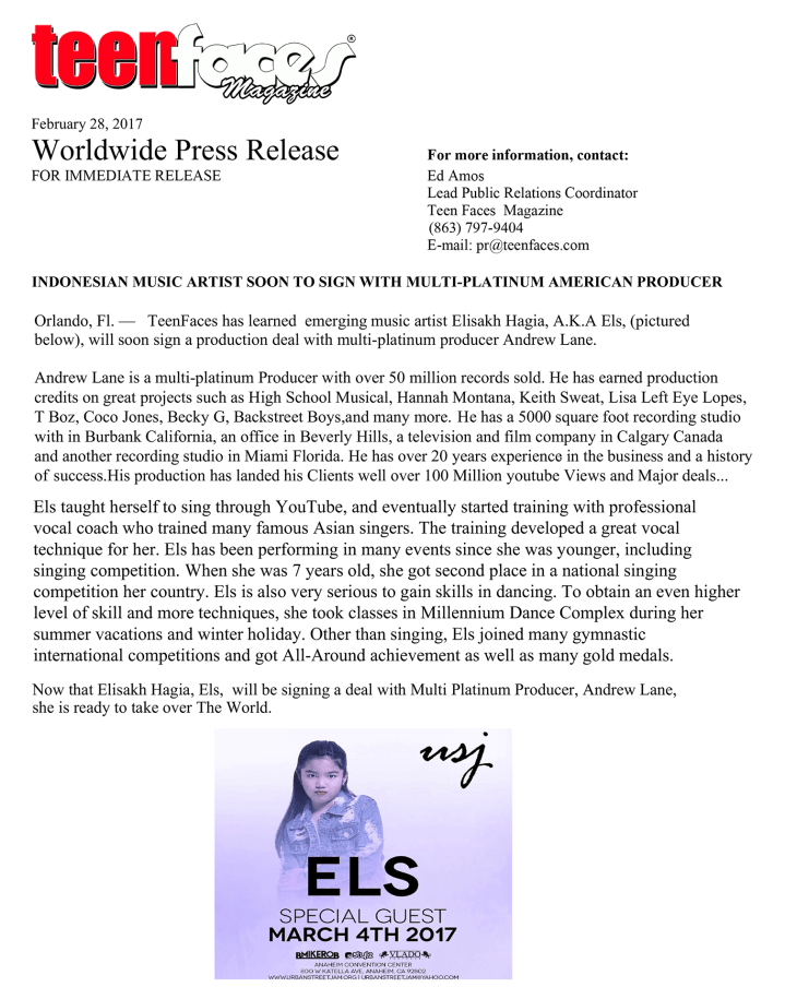 "Worldwide Press Release "" INDONESIAN MUSIC ARTIST SOON TO SIGN WITH MULTI-PLATINUM AMERICAN PRODUCER """