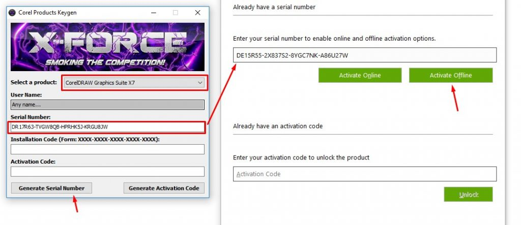 Corel Draw x7 Serial key free download