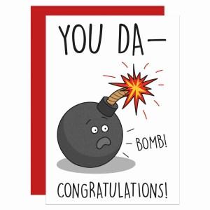 Funny Congrats Card, Graduation Card, Well Done Card, Driving Test Card, Pass Exams Card, Congratulations Card, Bomb Pun Card, TeePee Creations, Confetti Card, Wedding Card, New Job Card, New Home Card, You Da-Bomb Pun