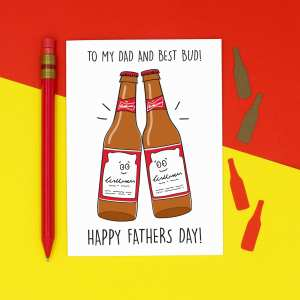 Funny Fathers Day, Beer Pun Card, Best Bud Card, Confetti Card, TP Creation, Card for Dad, Card for Stepdad, Budweiser Card, Party Animal Card, Pun Fathers Day Card, Beer Bottle Card, Beer Lover Card, Good Pal Card