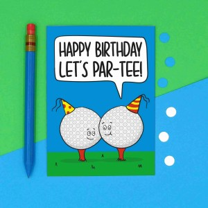 Funny Birthday Card, Sport Birthday Card, Card for Golf Lover, Lets Party Card, Pun Golf Card, TeePee Creations, Milestone Birthday, Card for Dad, Card for Grandad, Numbered Card, Confetti Card, Golfers Card, Male Birthday Card