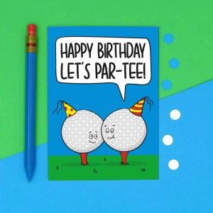 Funny Birthday Card, Sport Birthday Card, Card for Golf Lover, Lets Party Card, Pun Golf Card, TeePee Creations, Milestone Birthday, Card for Dad, Card for Grandad, Numbered Card, Confetti Card, Golfers Card, Male Birthday Card
