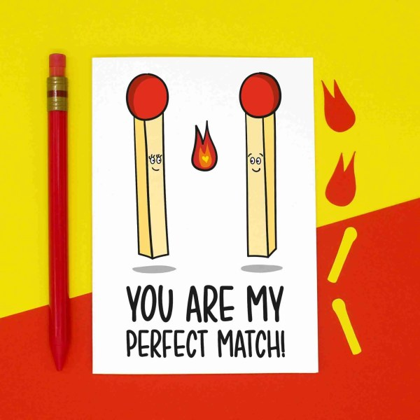 TeePee Creations Confetti Card Anniversary Valentines Day Funny Pun Fun Love Perfect Match Just Because Boyfriend Girlfriend Wife Husband Partner Other Half Illustration Fire Lighter Lit Hot Adorable Gift Sweet Present