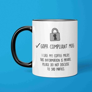 GDPR Compliant Mug, TeePee Creations, Funny Pun Gift, Birthday Present, New Job Token, For Colleague, Work Secret Santa, Customisable Cup, Personalised Xmas, Christmas Joke, Marketing Drawing, Data Protection, Stocking Filler