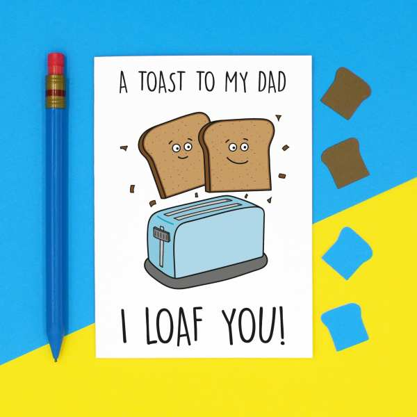 Cute Card For Dad, Funny Dad Card, Toast Pun Card, Fathers Day Card, Confetti Card, Food Lover Card, Card for Vegan, Card for Vegetarian, Toaster Pun Card, TeePee Creations, Card for Stepdad, Funny Fathers Day, Amazing Dad Card