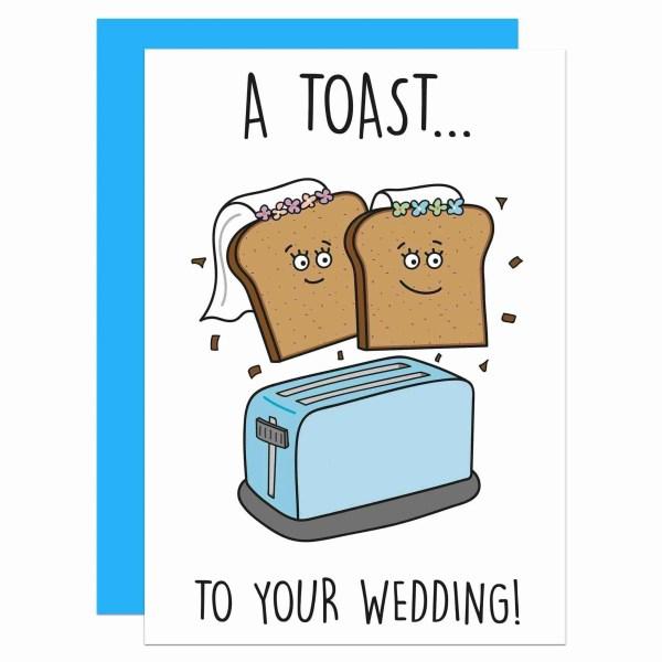 Cute Wedding Card, Congratulations Card, Toast To Wedding, Lesbian Marriage, Funny Wedding Card, Toast Pun Card, Toaster Pun Card, TeePee Creations, Confetti Card, Card for Vegan, Card for Vegetarian, Wife and Wife Card, Gay Wedding Card